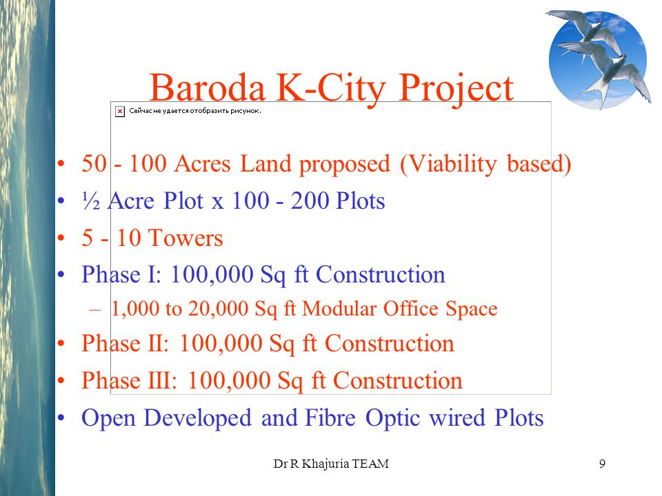 Baroda K-City Project 50 - 100 Acres Land proposed (Viability based)