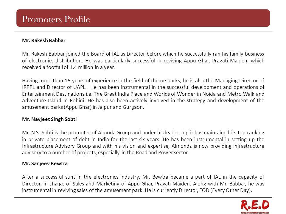 Promoters Profile Mr. Rakesh Babbar