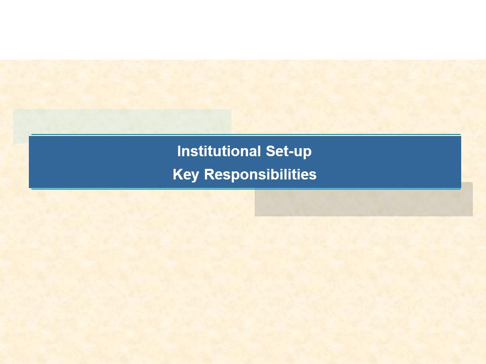 Institutional Set-up Key Responsibilities
