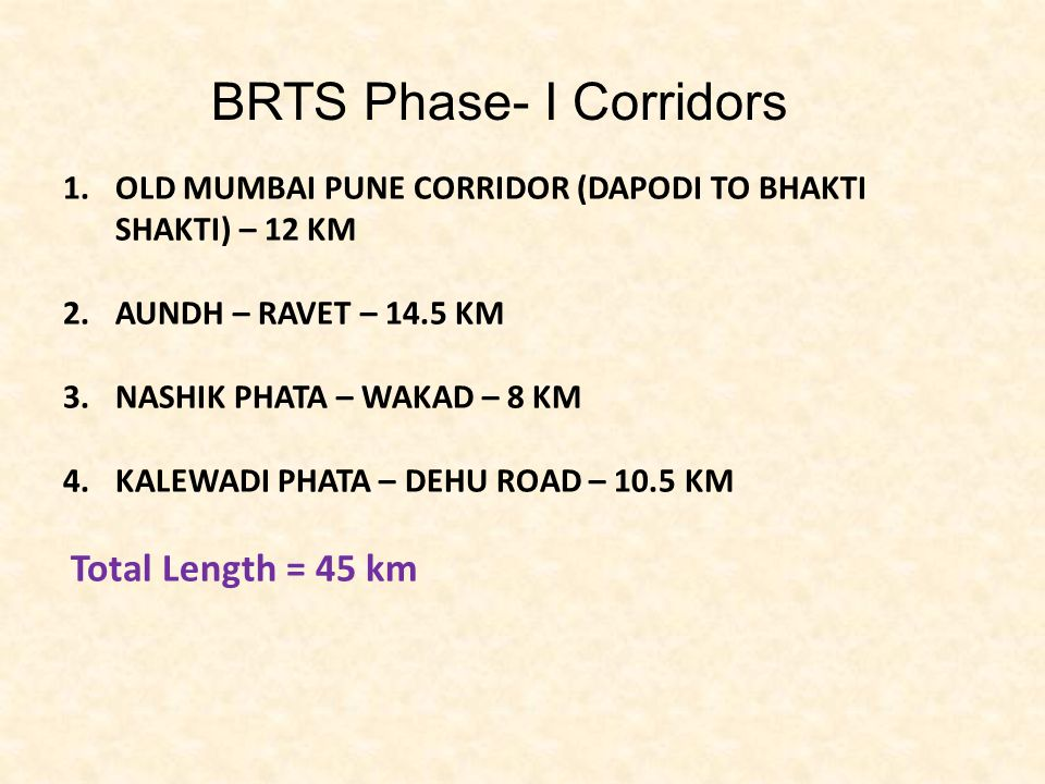BRTS Phase- I Corridors