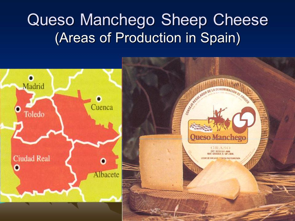 Queso Manchego Sheep Cheese (Areas of Production in Spain)