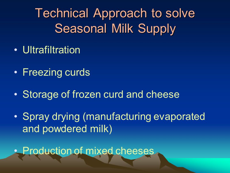 Technical Approach to solve Seasonal Milk Supply