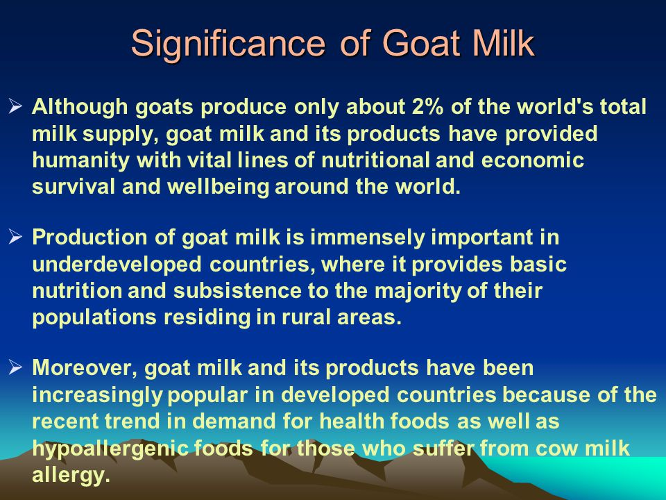Significance of Goat Milk