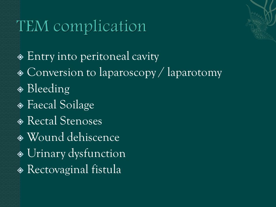 TEM complication Entry into peritoneal cavity