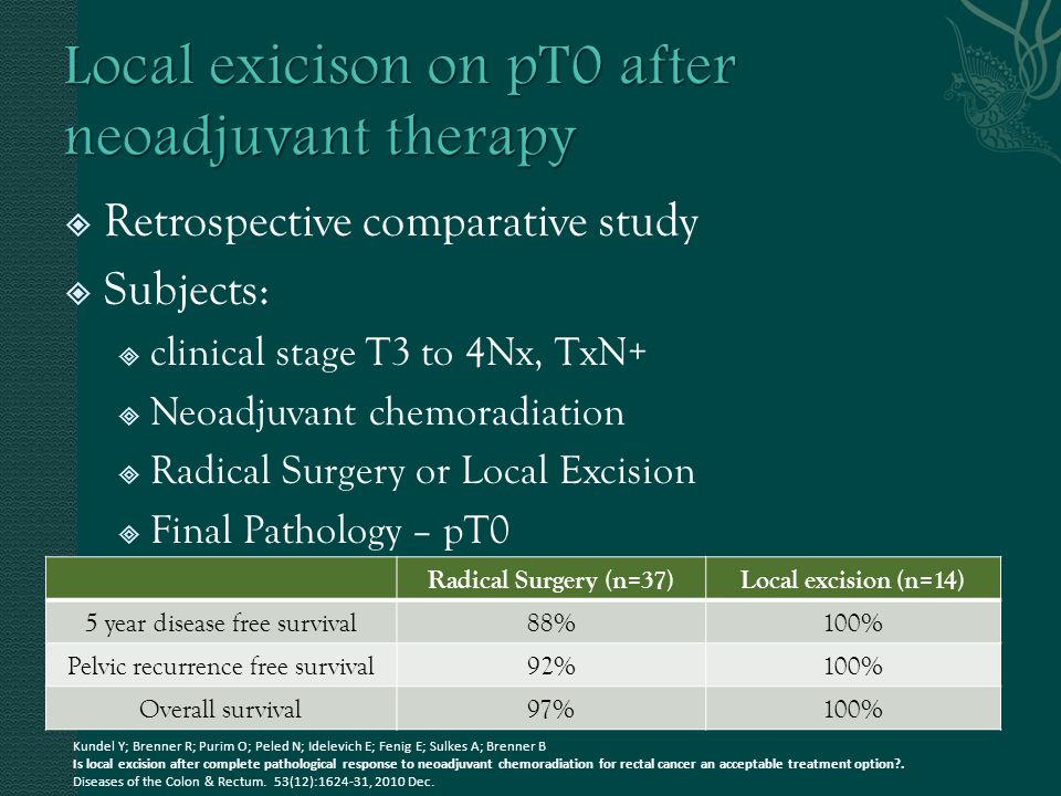 Local exicison on pT0 after neoadjuvant therapy