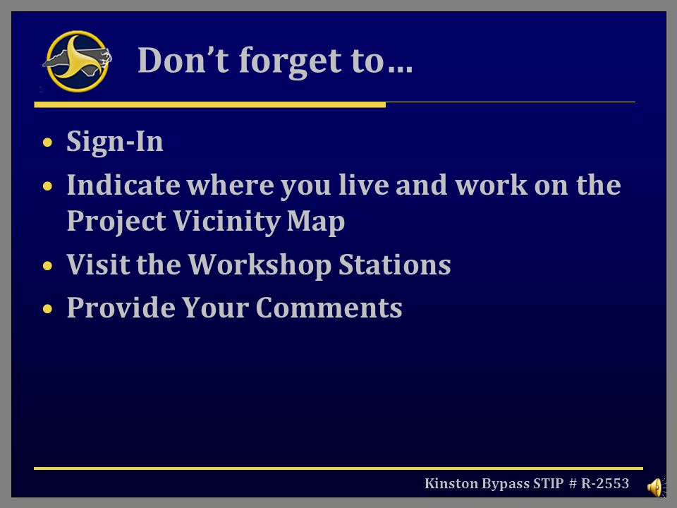 Don't forget to… Sign-In