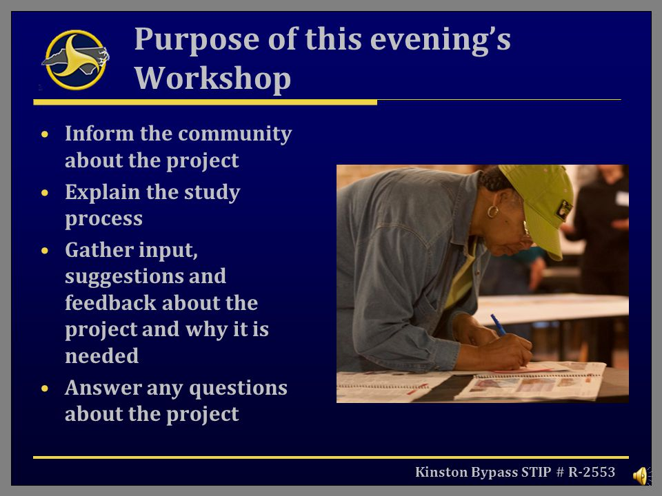 Purpose of this evening's Workshop