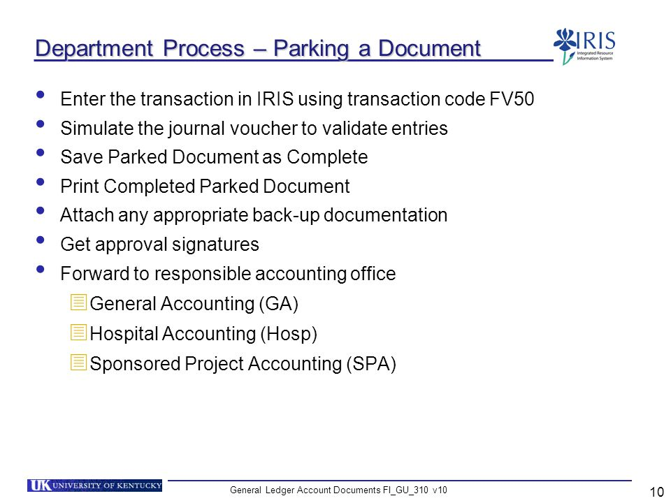 Department Process – Parking a Document