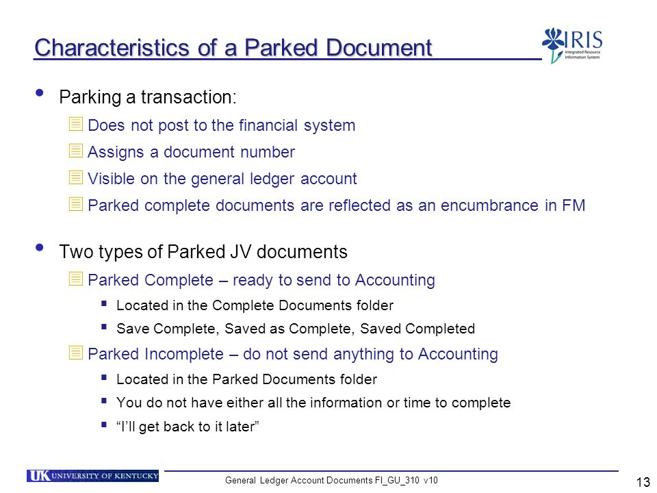 Characteristics of a Parked Document