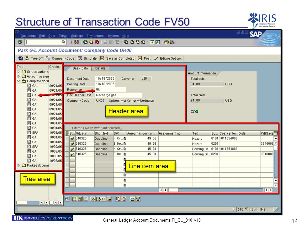 Structure of Transaction Code FV50