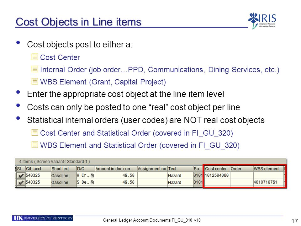 Cost Objects in Line items