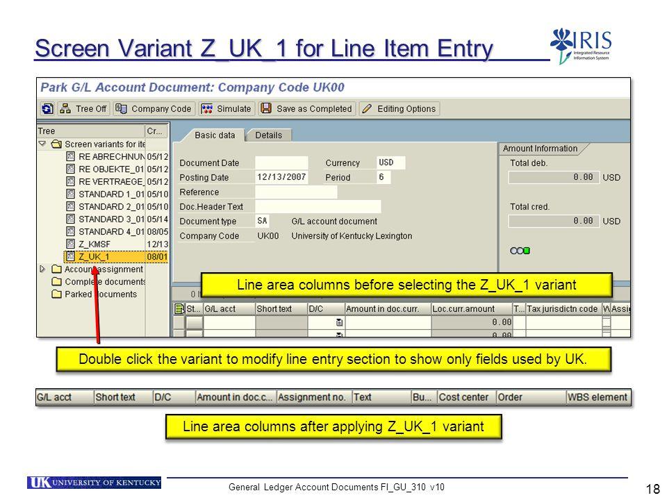 Screen Variant Z_UK_1 for Line Item Entry