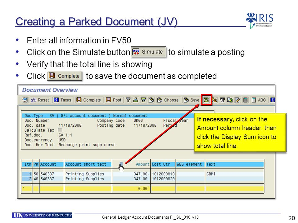 Creating a Parked Document (JV)