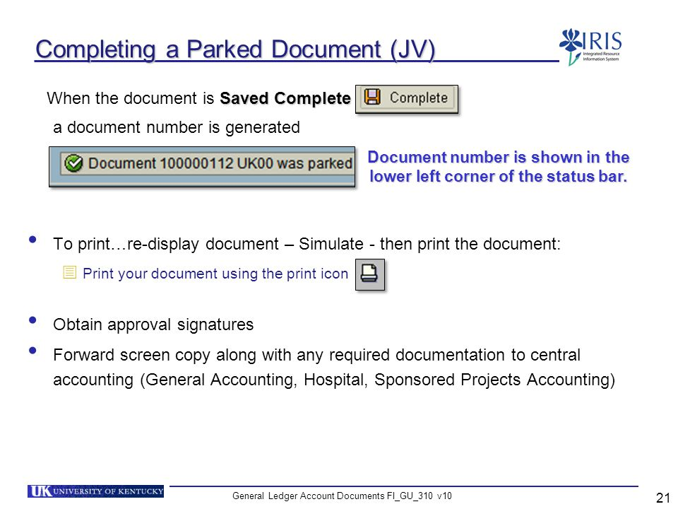 Completing a Parked Document (JV)