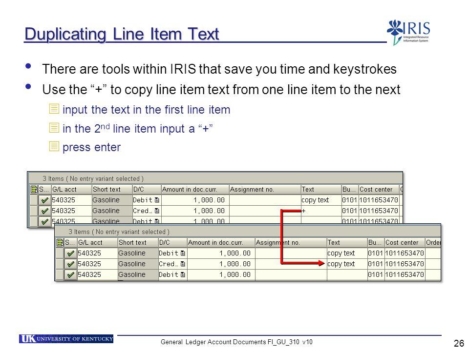 Duplicating Line Item Text