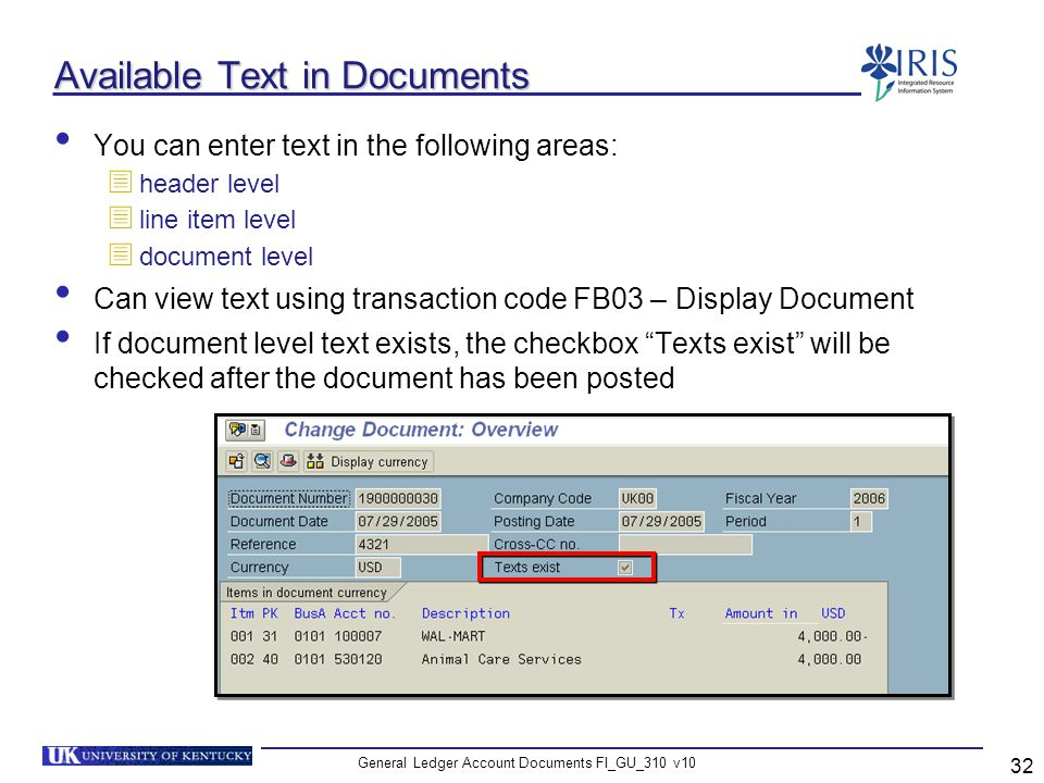 Available Text in Documents