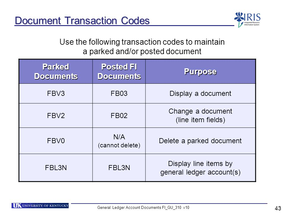 Document Transaction Codes