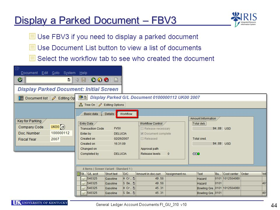 Display a Parked Document – FBV3
