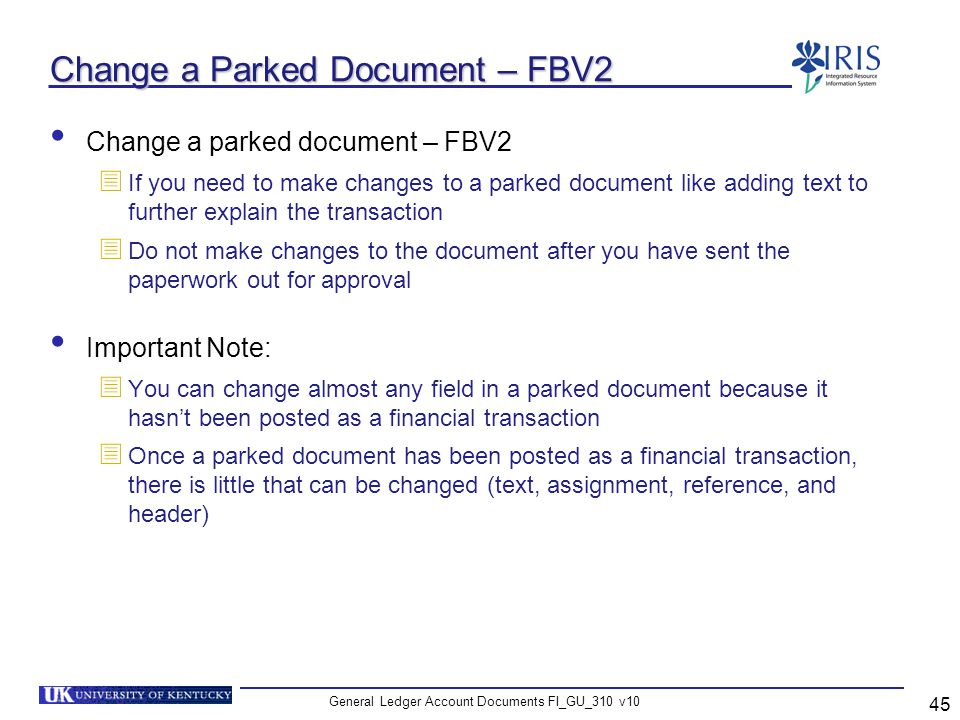 Change a Parked Document – FBV2