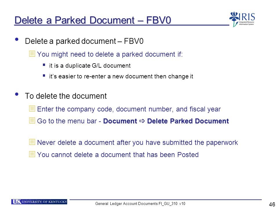 Delete a Parked Document – FBV0