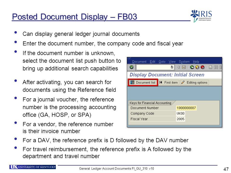Posted Document Display – FB03