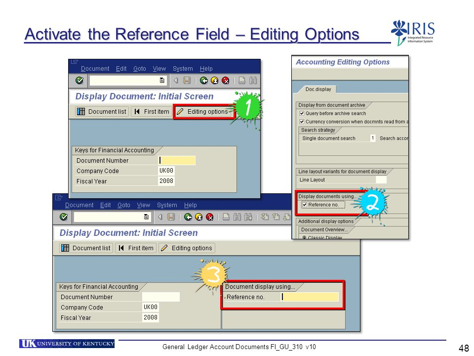 Activate the Reference Field – Editing Options