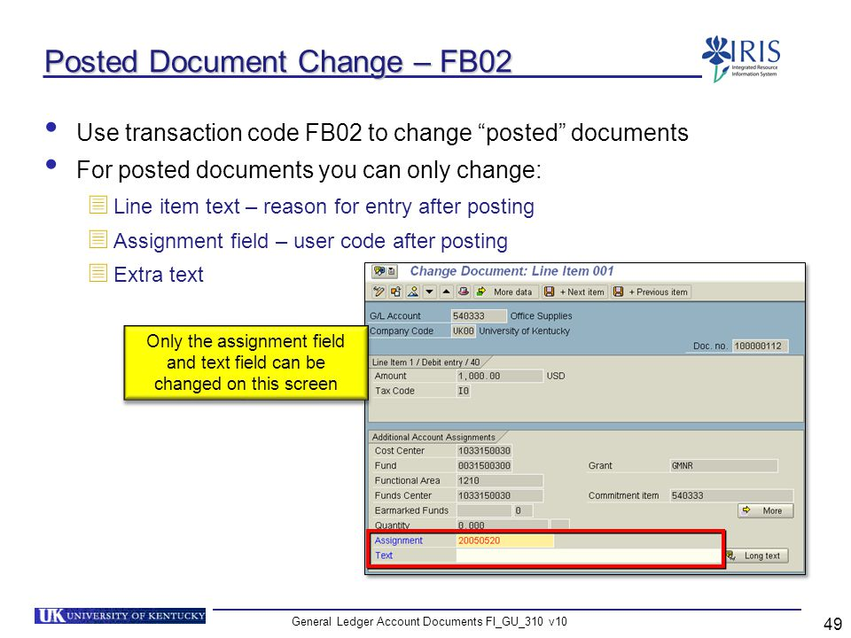 Posted Document Change – FB02