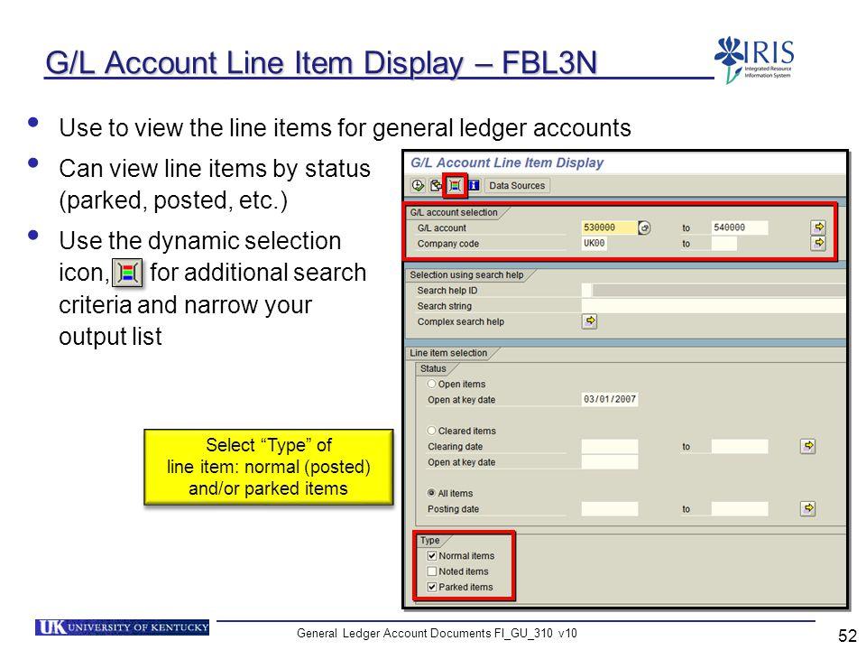 G/L Account Line Item Display – FBL3N