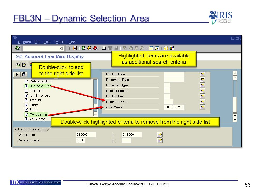 FBL3N – Dynamic Selection Area