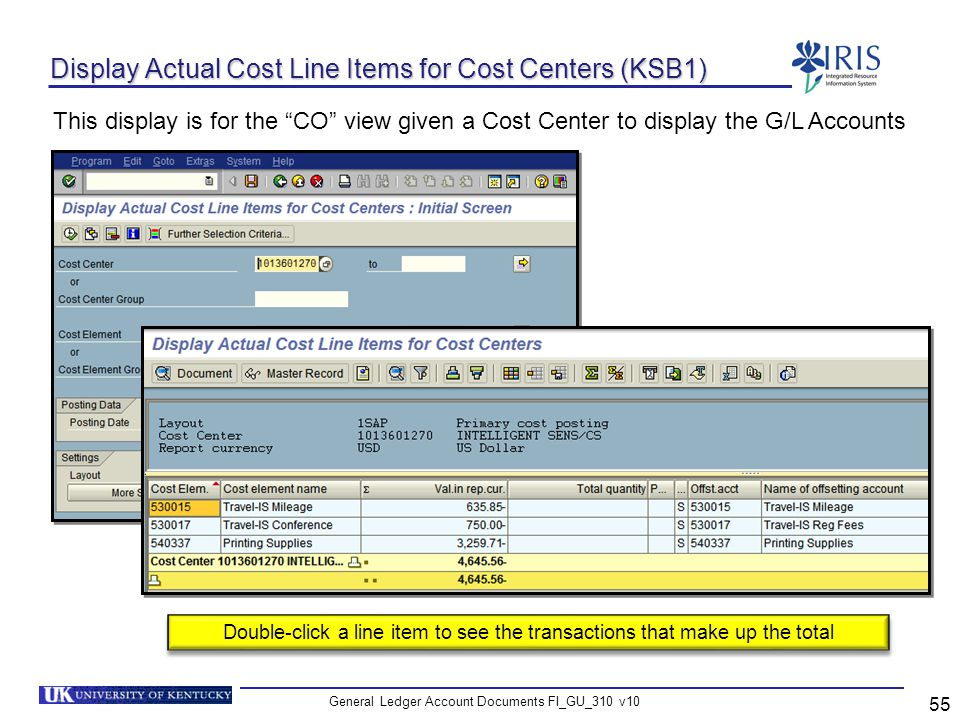Display Actual Cost Line Items for Cost Centers (KSB1)