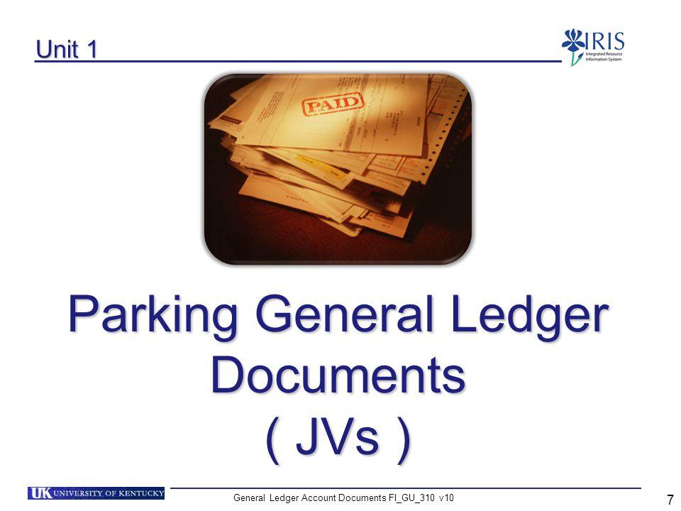 Parking General Ledger Documents ( JVs )