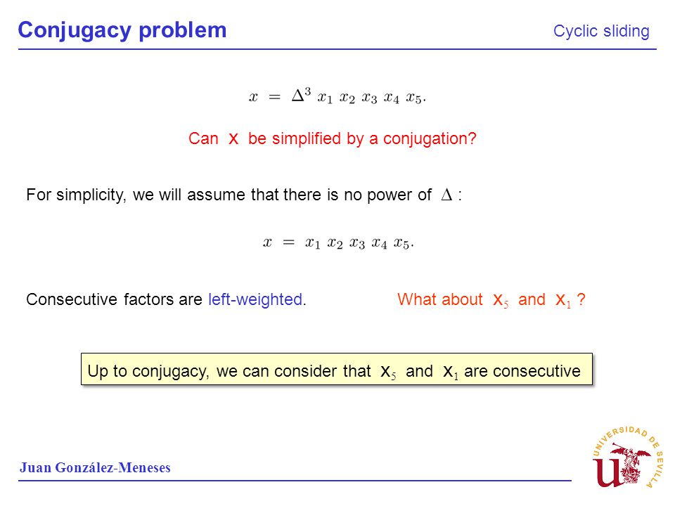 Conjugacy problem Cyclic sliding Can x be simplified by a conjugation