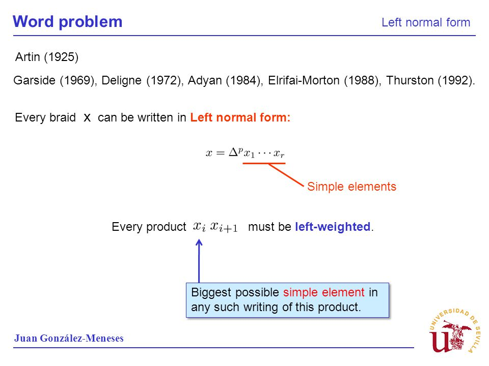 Word problem Left normal form Artin (1925)