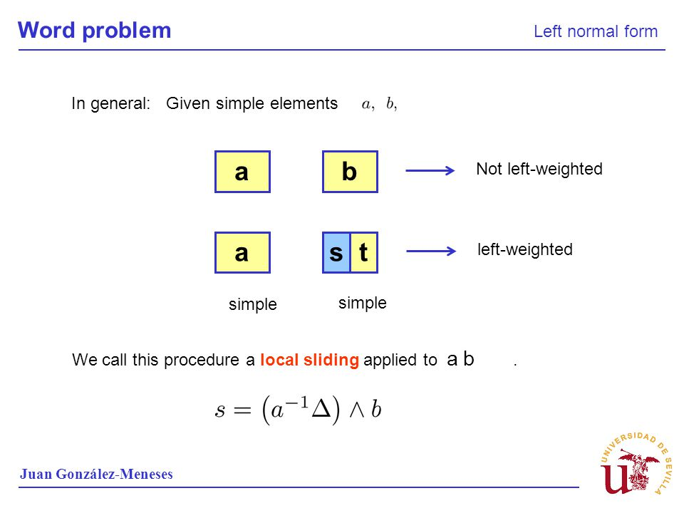 a b a s t Word problem Left normal form