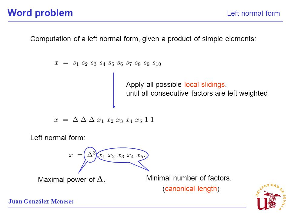 Word problem Left normal form