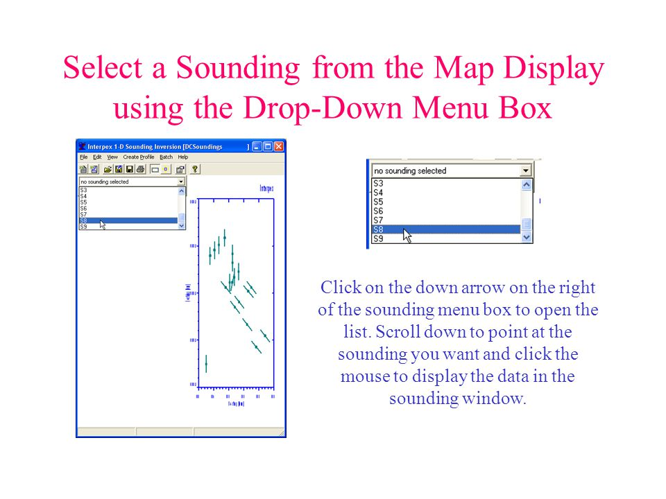 Select a Sounding from the Map Display using the Drop-Down Menu Box