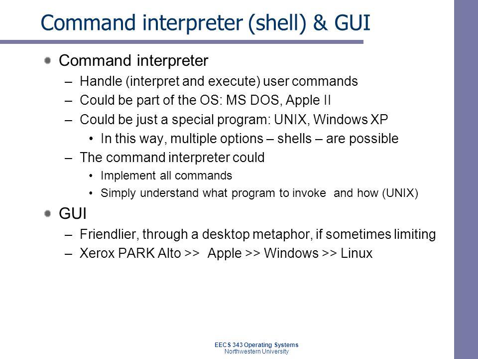 Command interpreter (shell) & GUI