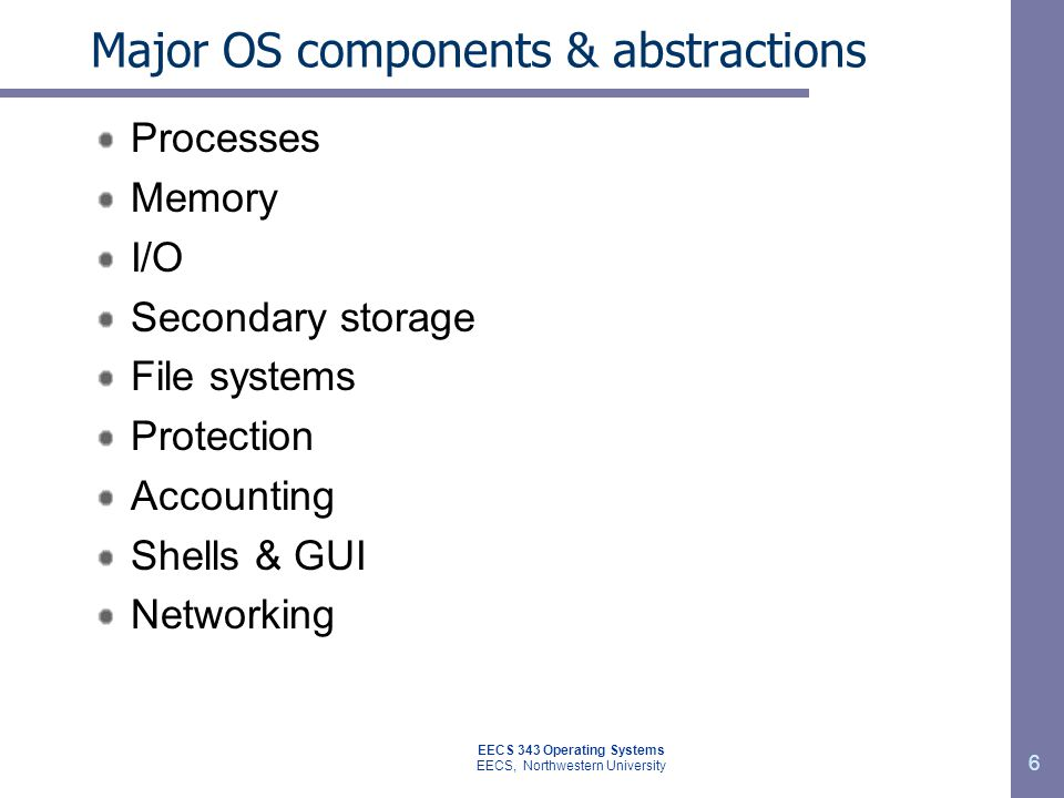 Major OS components & abstractions