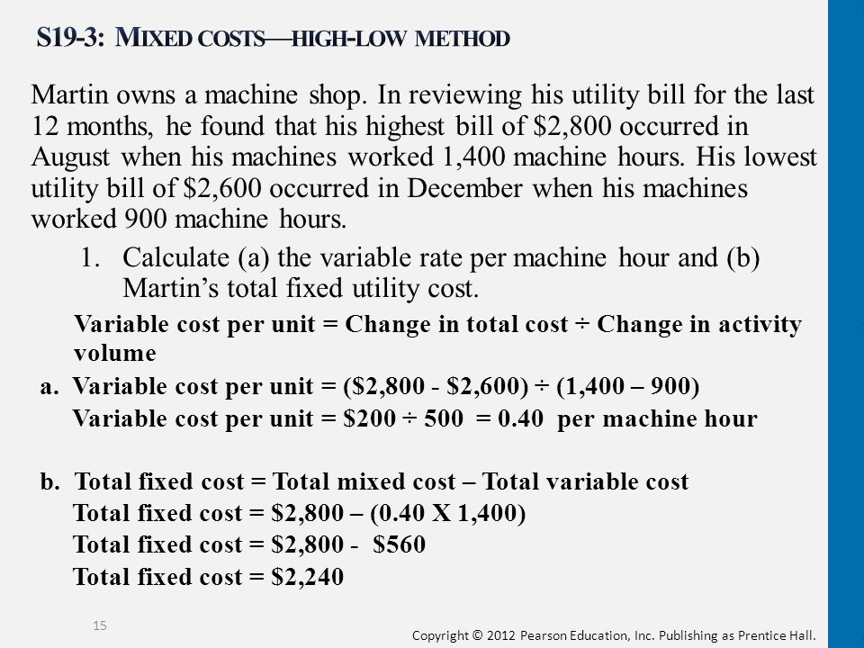 S19-3: Mixed costs—high-low method