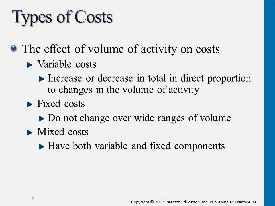 Types of Costs The effect of volume of activity on costs