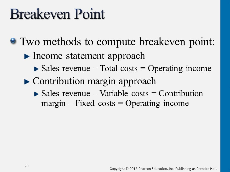 Breakeven Point Two methods to compute breakeven point: