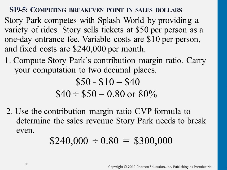 S19-5: Computing breakeven point in sales dollars