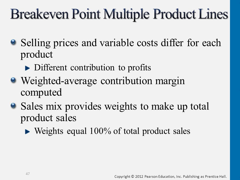Breakeven Point Multiple Product Lines