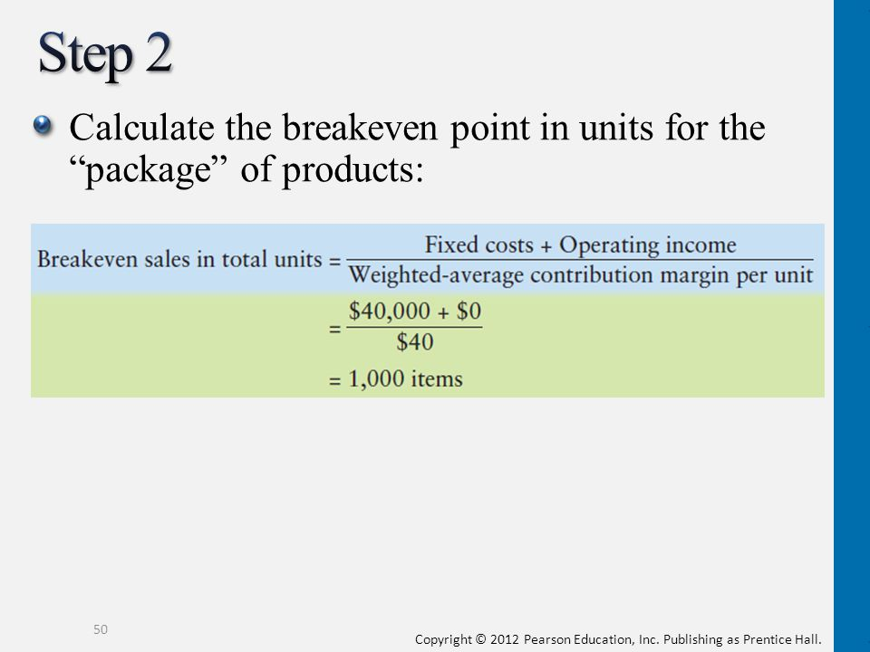 Step 2 Calculate the breakeven point in units for the package of products: