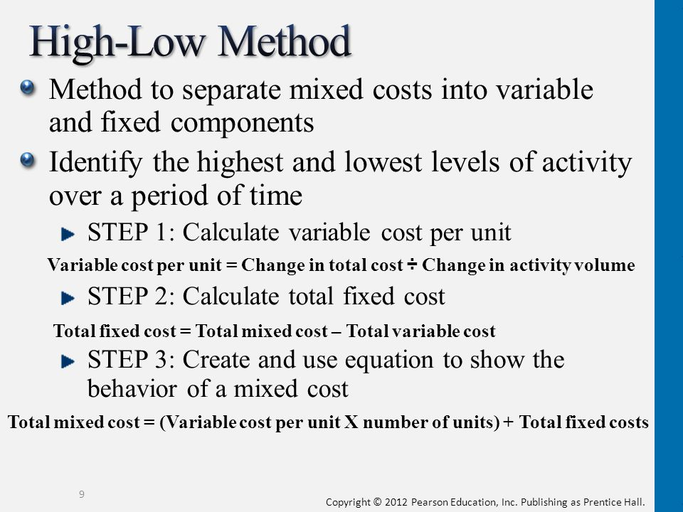 High-Low Method Method to separate mixed costs into variable and fixed components.
