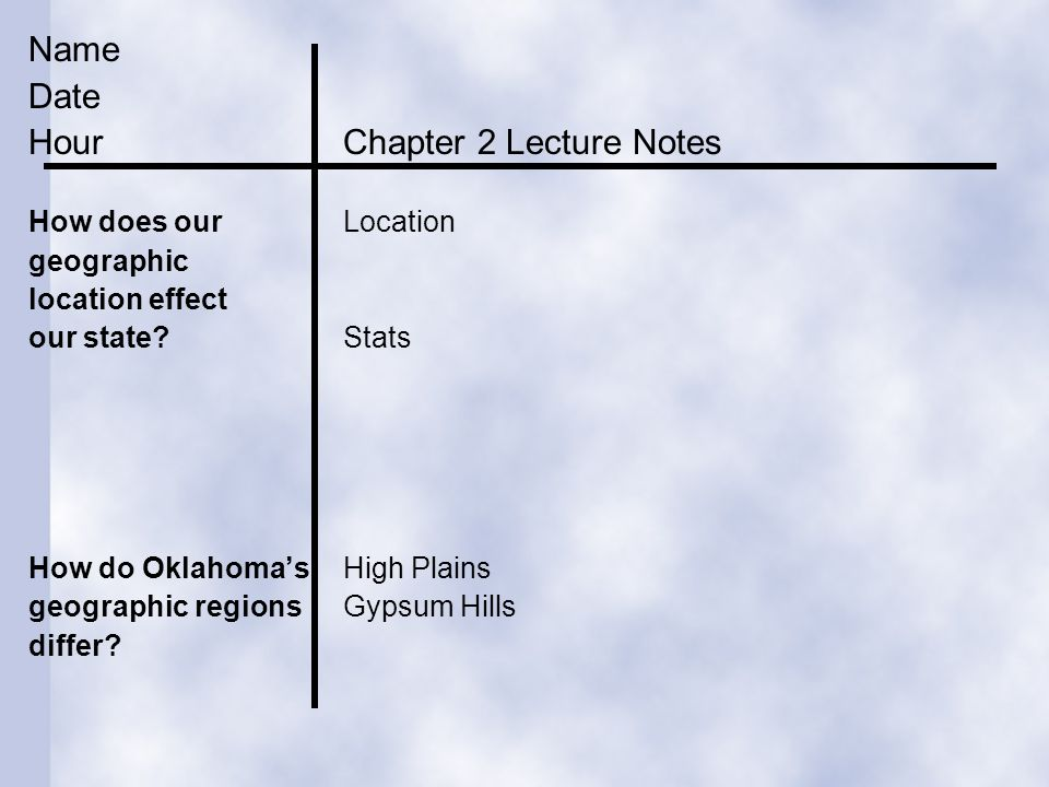 Hour Chapter 2 Lecture Notes (BACK)