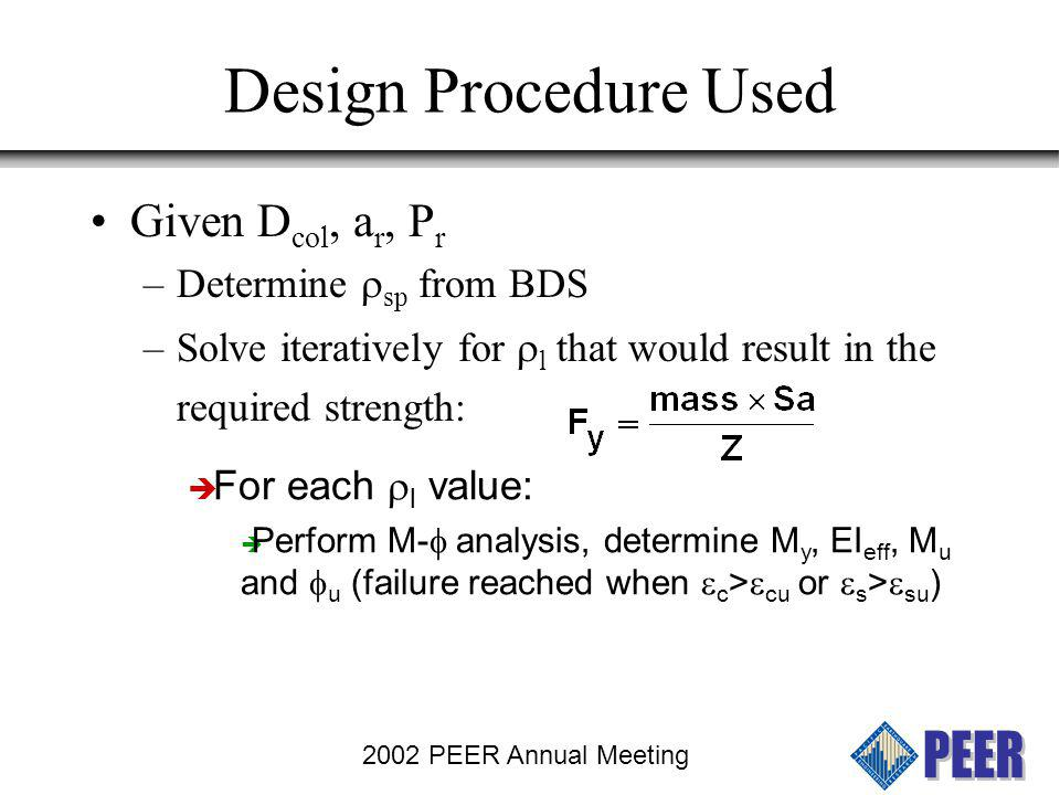 Design Procedure Used Given Dcol, ar, Pr Determine rsp from BDS