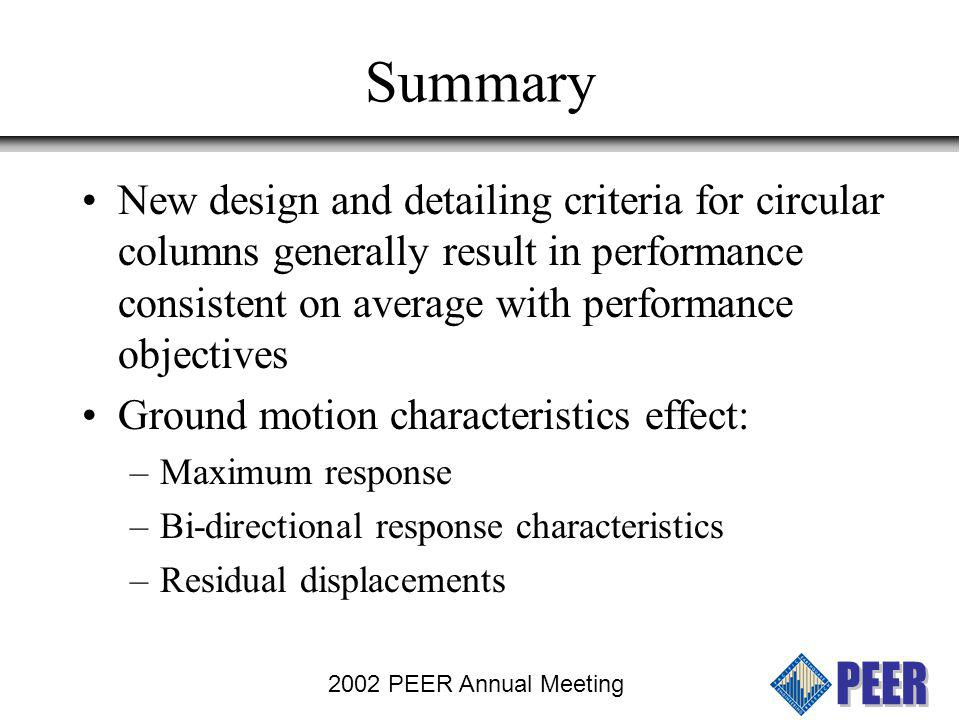 Summary New design and detailing criteria for circular columns generally result in performance consistent on average with performance objectives.