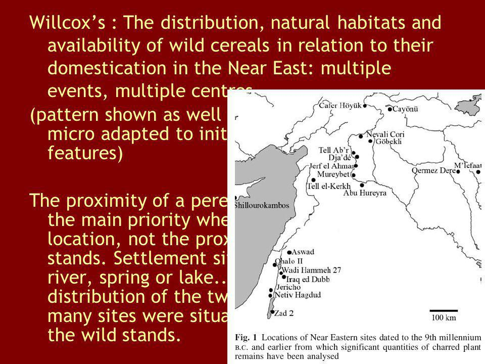 Willcox's : The distribution, natural habitats and availability of wild cereals in relation to their domestication in the Near East: multiple events, multiple centres