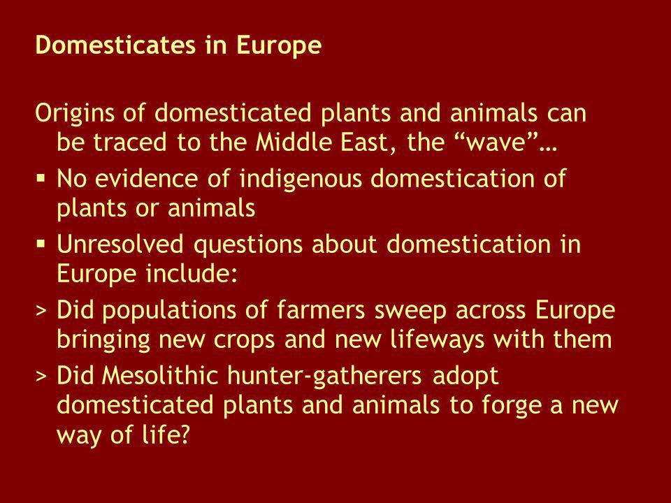 Domesticates in Europe